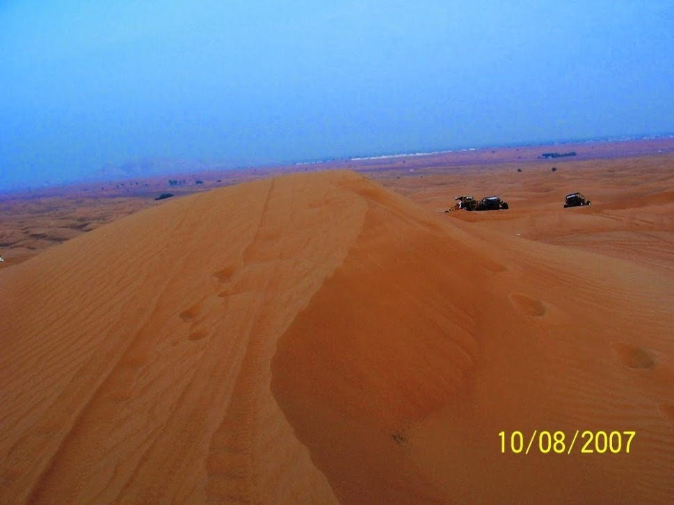 On the top of a sand dune