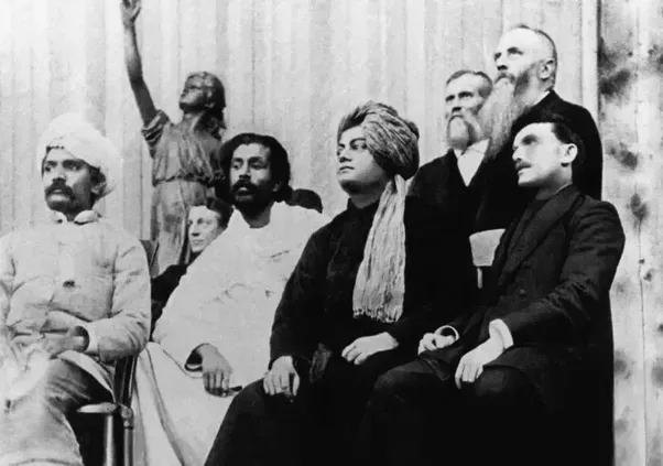 Swami Vivekananda on the platform of the Parliament of Religions