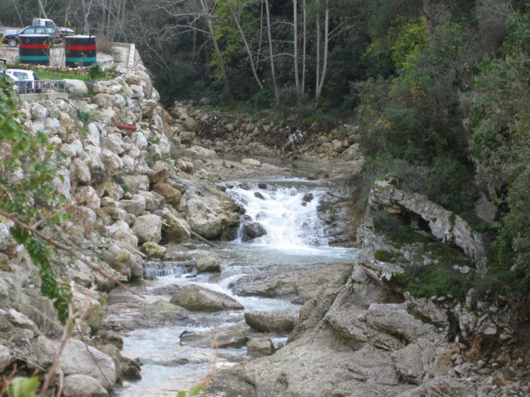 A view of the river Nahr al-Kalb from the gondola at Jeita, Jan 22, 2011
