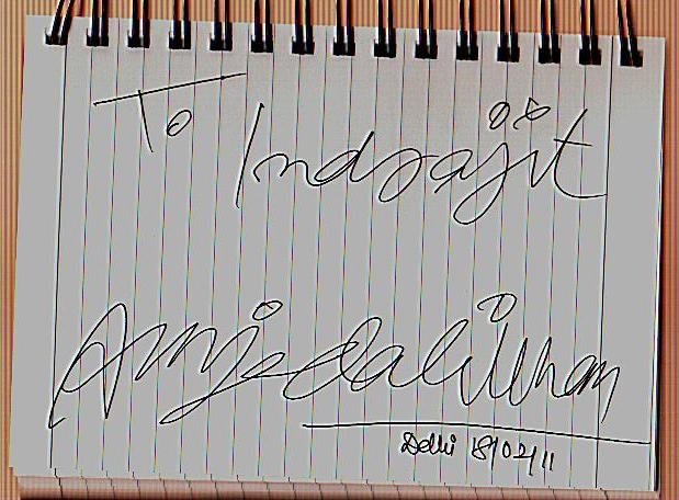 Autograph of Amjad Ali Khan