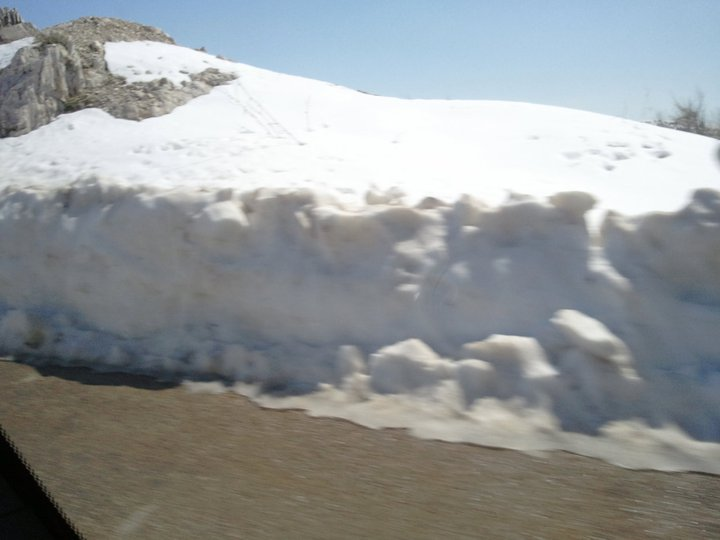 Snow accumulation at Mzaar