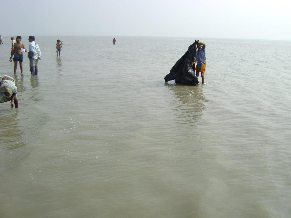 Gangasagar, where the holy river Ganga meets the Bay of Bengal