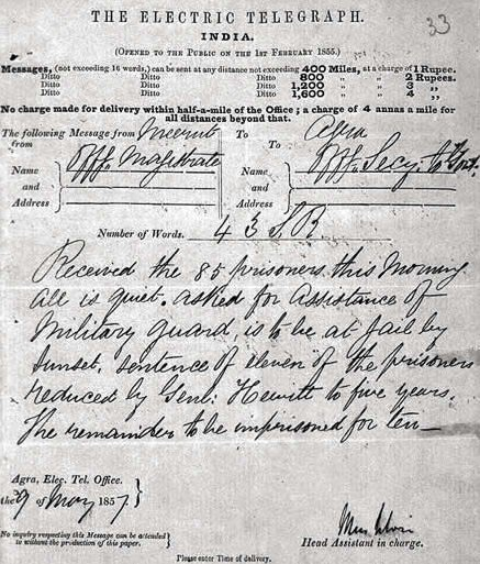 Telegram Alerting British Government About The Outbreak of Sepoy Mutiny In India