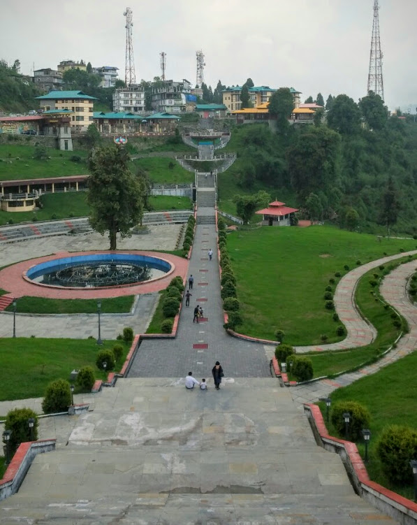 View from the park at Tathagata Tsal from the base of the statue of Gautam Buddha
