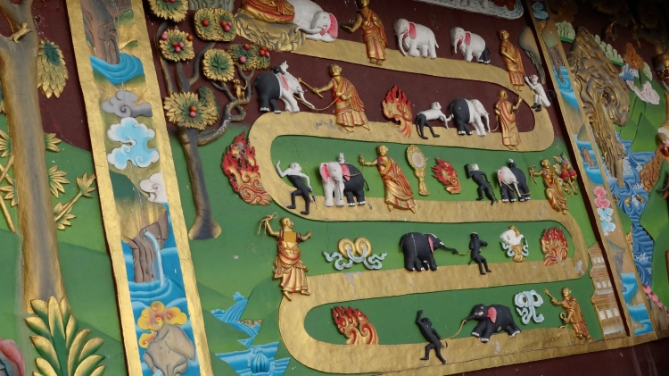 Relief depicting Jataka tales — on the previous lives of Gautam Buddha at Tathagata Tsal, Rabongla, Sikkim