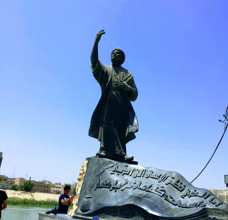 The statue of the famous Arab poet Al Mutanabbi on the bank of Tigris river