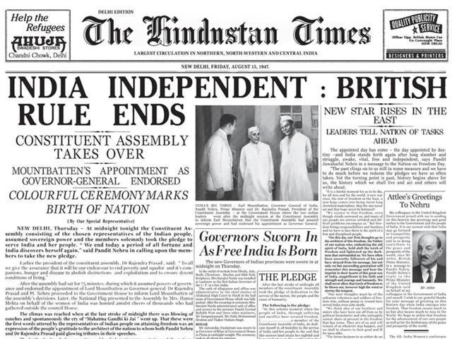 Paper clipping of the Hindustan Times of August 15, 1947