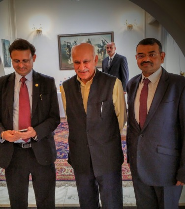 With the Honourable Minister of State for External Affairs MJ Akbar at the reception hosted by the Indian ambassador today at his residence.