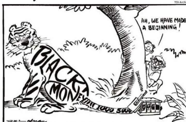 Cartoon By R.K.Laxman When Morarji Desai Withdrew 1000, 5000 & 10000 Rupee Notes in 1978. (Image: Times of India)