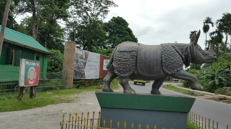 A huge statue of a rhinoceros was waiting to welcome us at the gate of the Jaldapara National Park, West Bengal, India