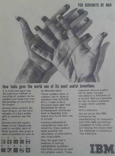 An old IBM advertisement on how India gave zero to the world