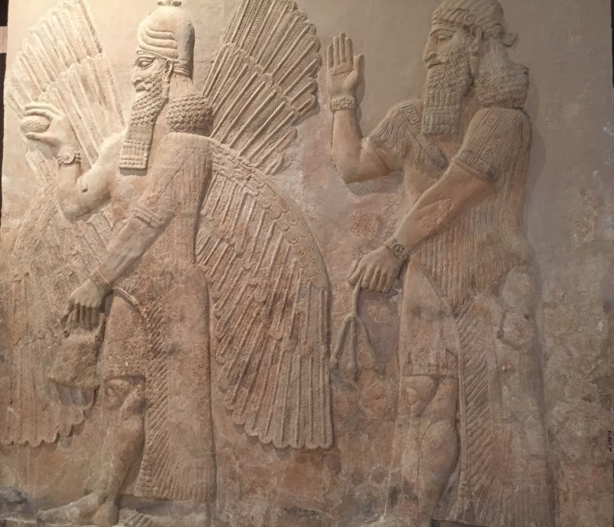 An orthostat depicting a winged genie, National Museum of Iraq, Baghdad.