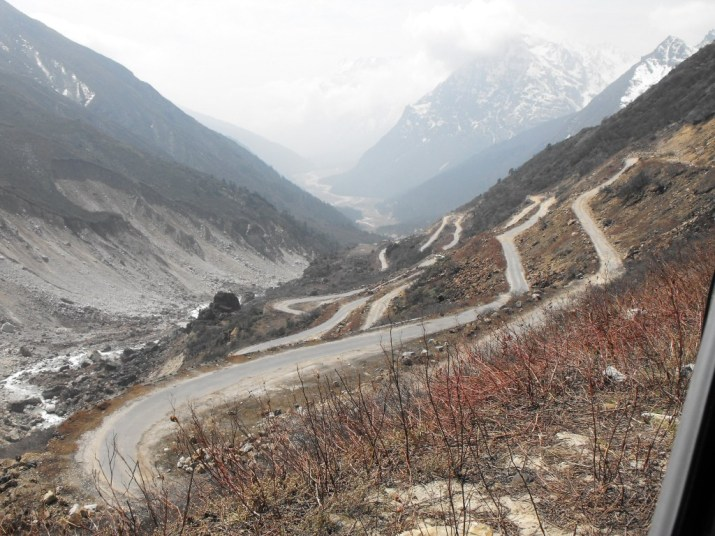 The road to Zero Point from Yumthang valley