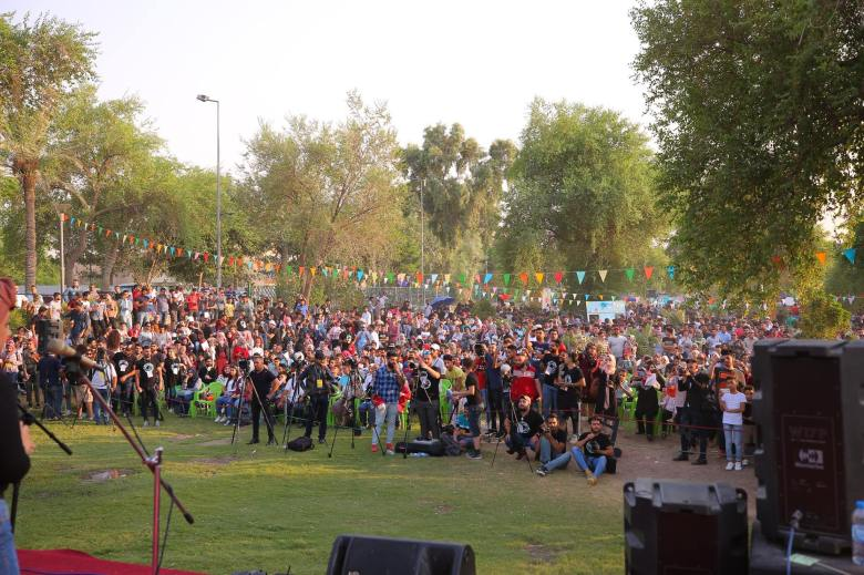 People gathered at Dar es Salaam festival, Baghdad, Sep 8, 2018.