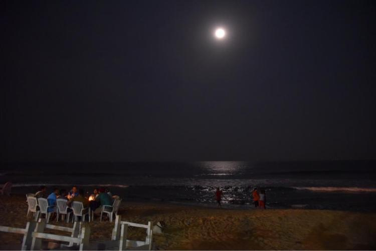 Full moon is approaching... the moon looks awesome in night on the Goa beach.