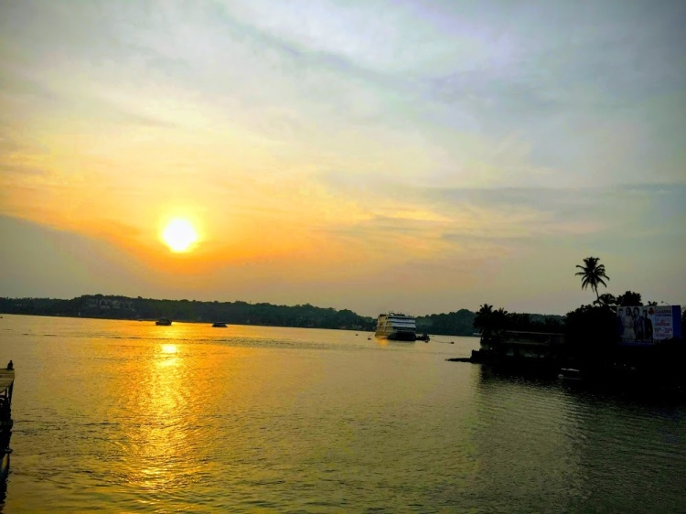 Sunset over Mandovi river