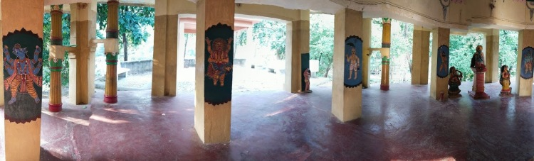 The pillars are painted with images of Dashavataras